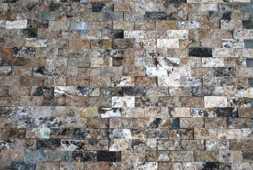 1x2 Antique Onyx Travertine Splitface Finish Mosaic Tile, Backsplashes, (Limestone Mosaic Tile)