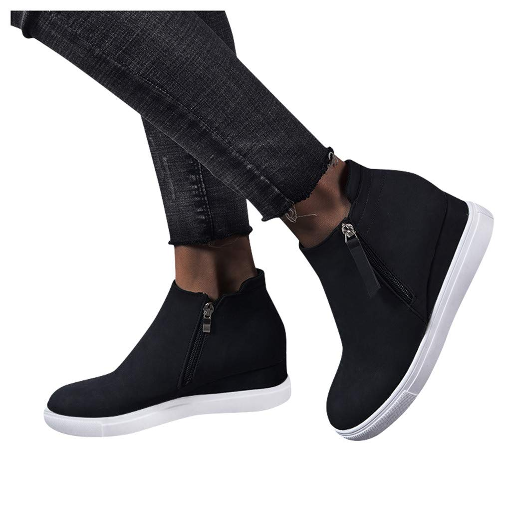 Dainzuy Wedge Sneakers for Women Fashion High Top Hidden Heel Shoes Casual Slip On Platform Ankle Booties