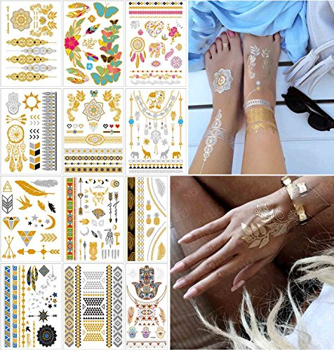 Butterflies Armband Tattoos - COKOHAPPY 12 Sheets Metallic Temporary Tattoo Gold Silver Over 150+ Shimmer Design Elephant Butterfly Feathers Mandala Lotus Mehndi Dream Catcher Armband for Women Teens Girls