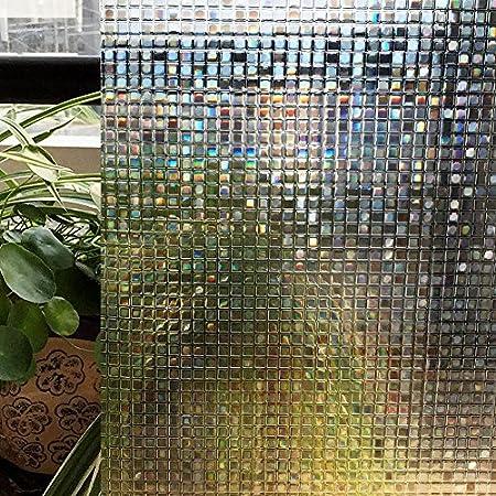 Vinilo Ventana Privacidad, Adhesivos Decorativos para Ventanas Ventana autoadhesiva de Vinilo Opaco Translúcido Uso Anti UV para baño Cocina Oficina(Pequeño Mosaico 3D)(91_x_200_cm): Amazon.es: Hogar
