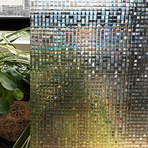Zoostliss Mosaic 3D Window Films Privacy Film Static Decorative Film Non-Adhesive Heat Control Anti UV 17.7In x 78.7In. 3 Plastic Windows