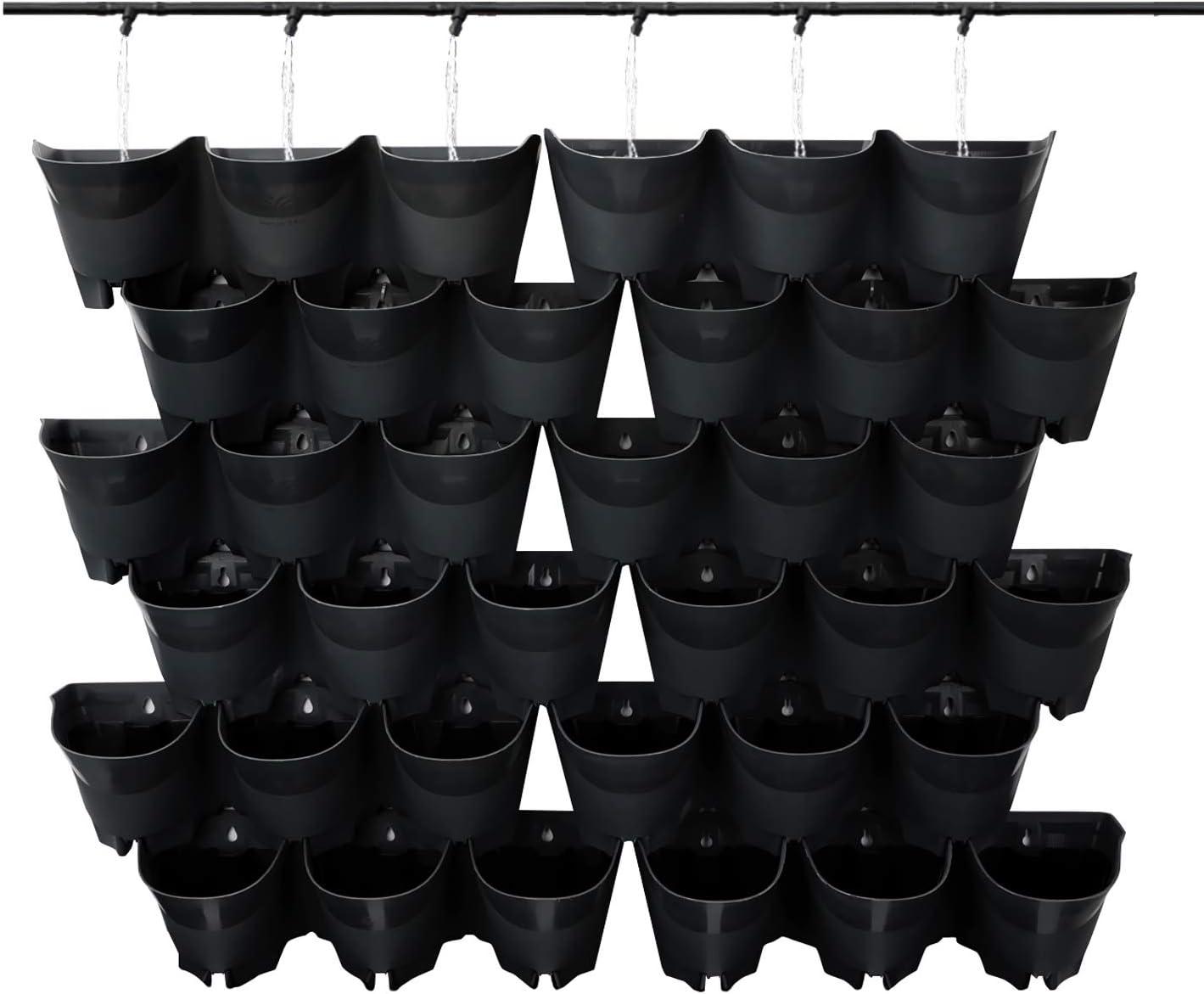 Amazon Com Worth Garden 12 Sets Self Watering Vertical Wall Planters 36 Pockets Total Indoor Outdoor Wall Hangers Black Home Kitchen