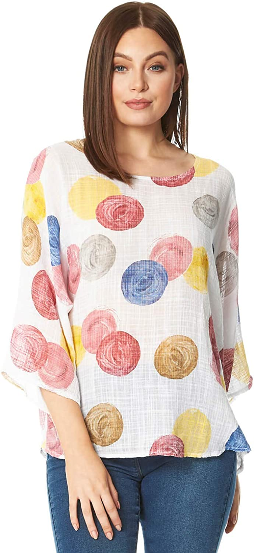 Roman Originals - Camiseta de manga 3/4, cuello redondo, ligera, 45% algodón, informal, holgada, para mujer, diseño de lunares, para mujer, color verde