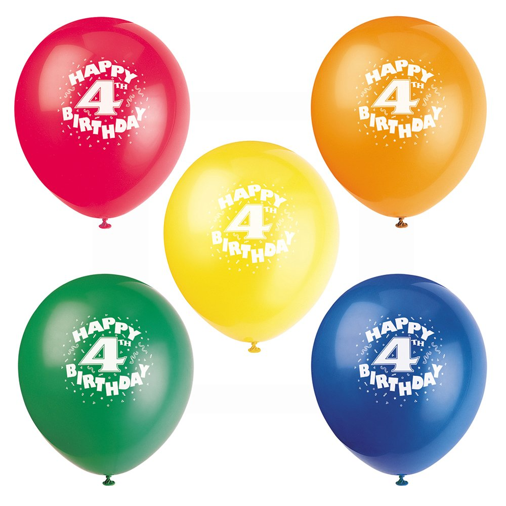 12'' Latex Happy 4th Birthday Balloons, Assorted 8ct