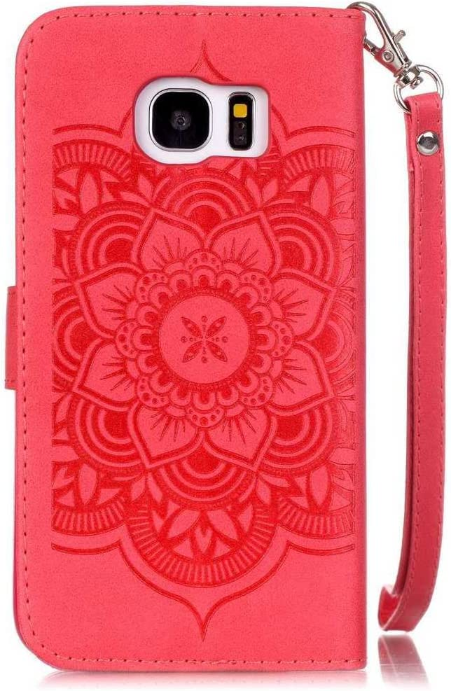 KKEIKO/® Galaxy S6 Edge Case Blue Flip Leather Wallet Case for Samsung Galaxy S6 Edge Free Tempered Glass Screen Protector Vintage Embossing Flower Galaxy S6 Edge Cover Case
