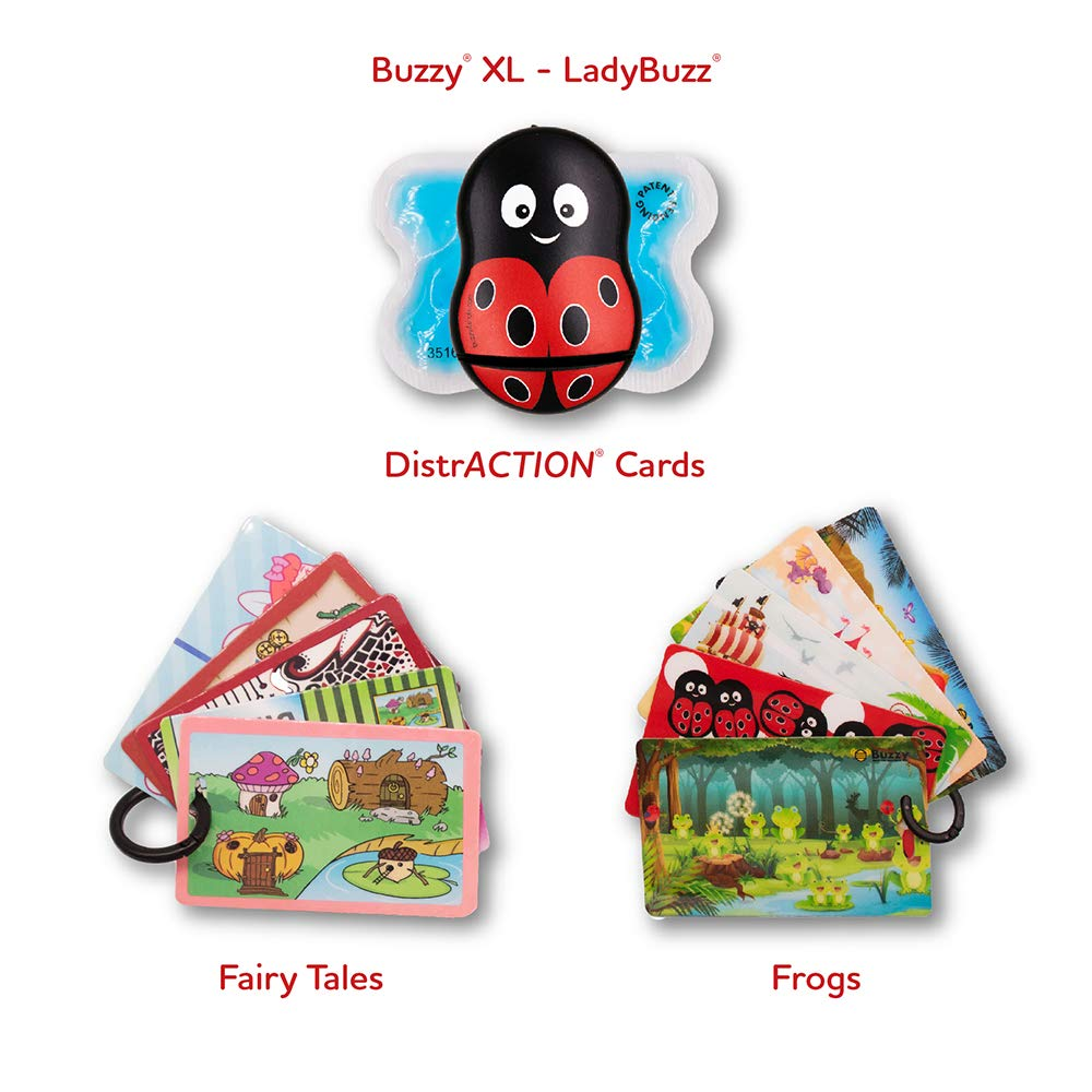 Buzzy Pain Relief Device,''XL'' Personal LadyBuzz Design + Distraction Cards x 2 Sets (''Fairytales'' &''Frogs'' Collectible Series) - for IVF & All Needle Procedures - $77.85 Value, Just $64.95! by Buzzy