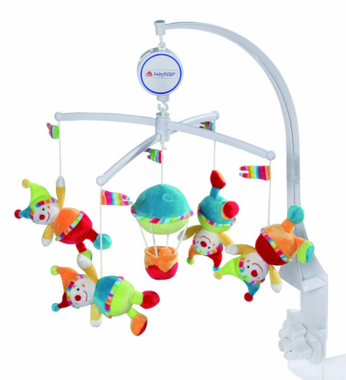 mobile babyfehn mit musik bunte clowns ballon ebay. Black Bedroom Furniture Sets. Home Design Ideas
