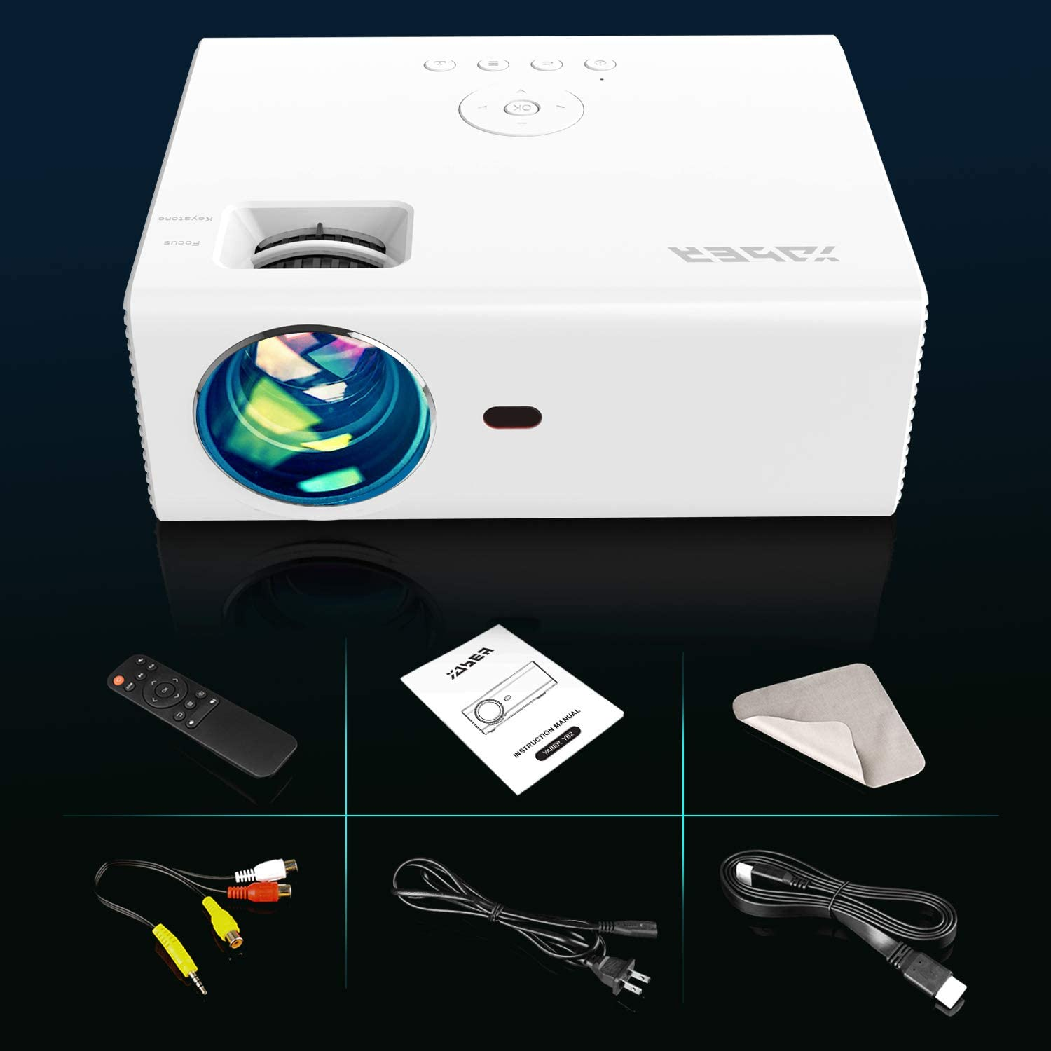 1080P and 200'' Supported YABER Mini Projector with 4500LUX 60,000 ...