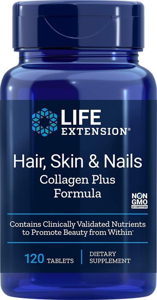 Life extension Hair, Skin, Nails- Collagen Plus, 120 Tablets