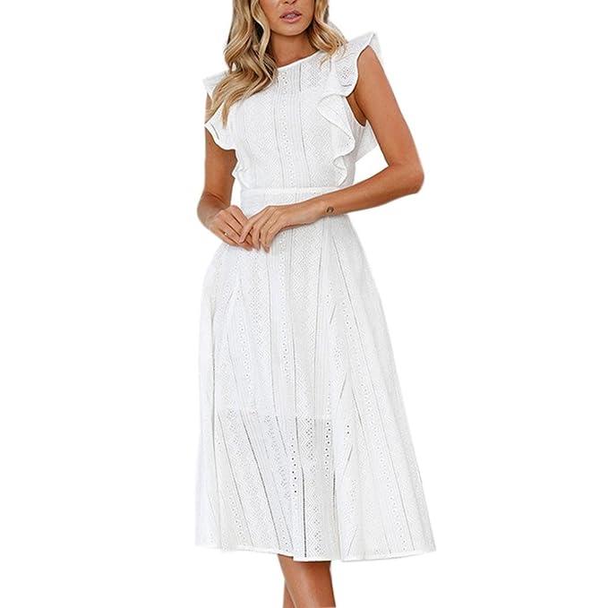 Vestidos Blanco Con Volantes Mujer LHWY, Vestidos Huecos De Cuello Redondo Manga Corto Vestido De