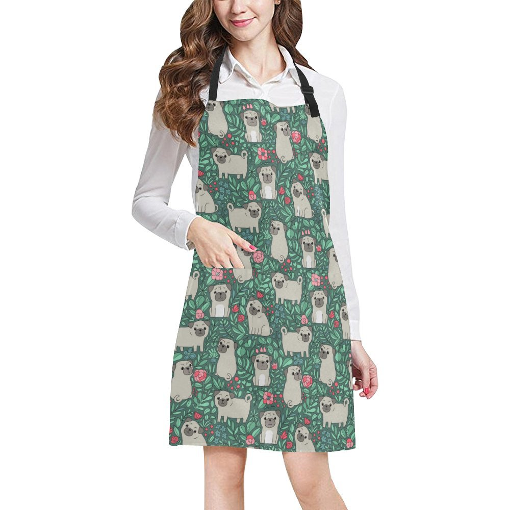 InterestPrint Cute Animal Pug Dog and Plants Flowers Home Kitchen Apron for Women Men with Pockets, Unisex Adjustable Bib Apron for Cooking Baking Gardening, Large Size