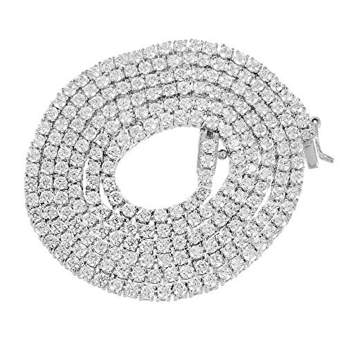 14k White Gold Finish Lab Diamond Iced Out Tennis Link Chain Solitaire Necklace by Master Of Bling