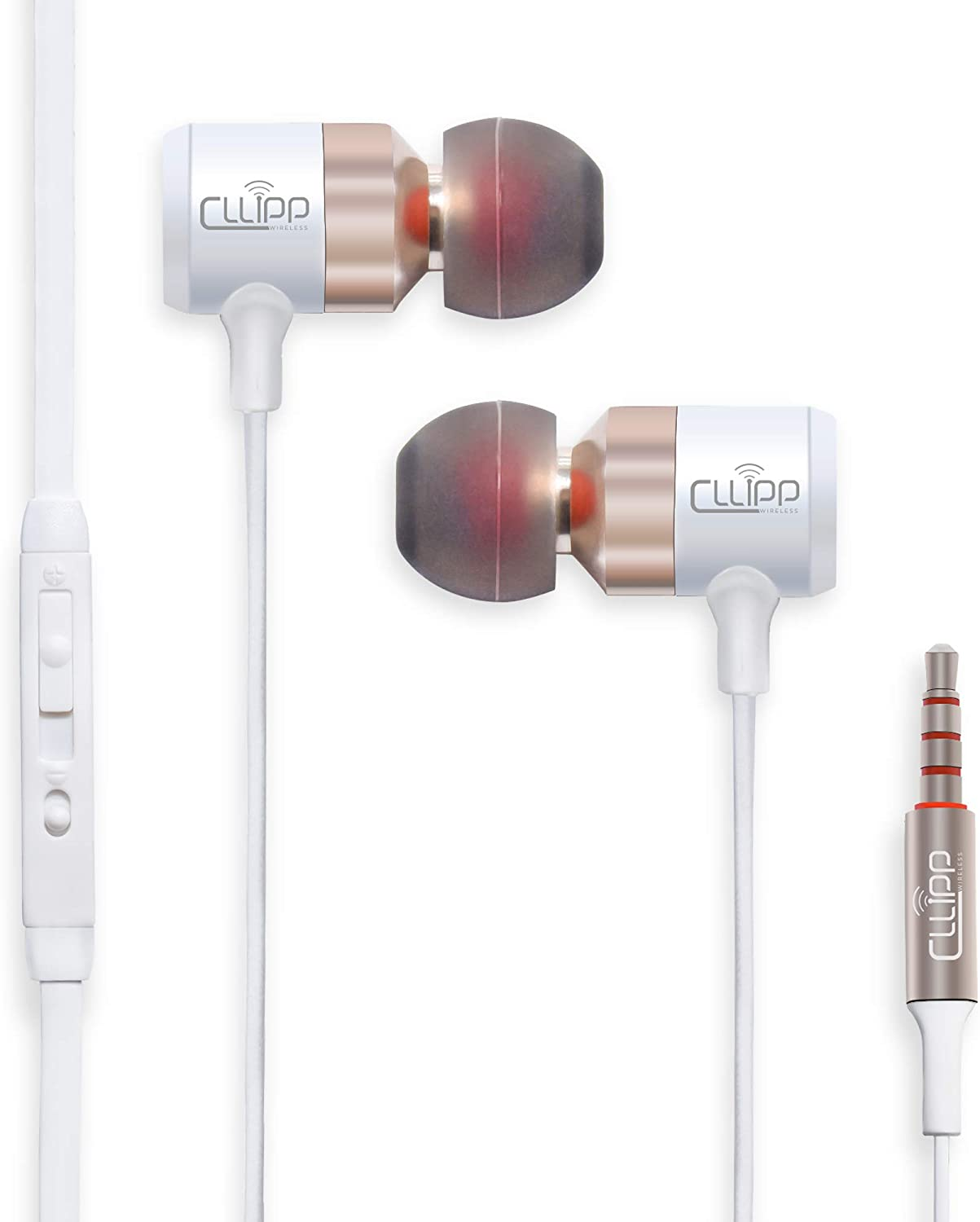 CLLIPP Noise Cancelling Earphones Earbuds with Microphone & Volume Control Tangle Free Design Dynamic Sound for Android, Apple Smartphones, Samsung, Sony, LG/Tablets/PC/Laptops/iPhones/iPod