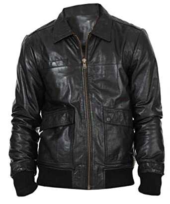 f2add7c91dc The Leather Factory Men s Lambskin Black WW2 Inspired Leather Bomber Jacket  XS Black