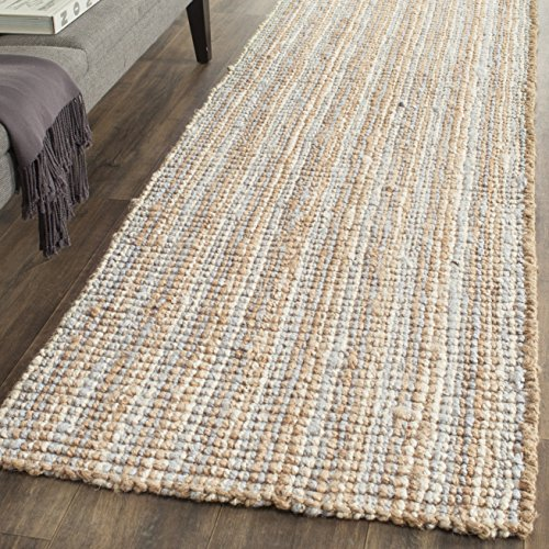 "Safavieh Natural Fiber Collection NF447K Hand Woven Grey and Natural Jute Runner (2'6"" x 8')"