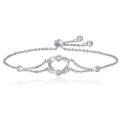 4014df5f5 BAMOER 925 Sterling Silver Double Heart Bracelet Adjustable Chain Bracelets  for Women Girls for Her