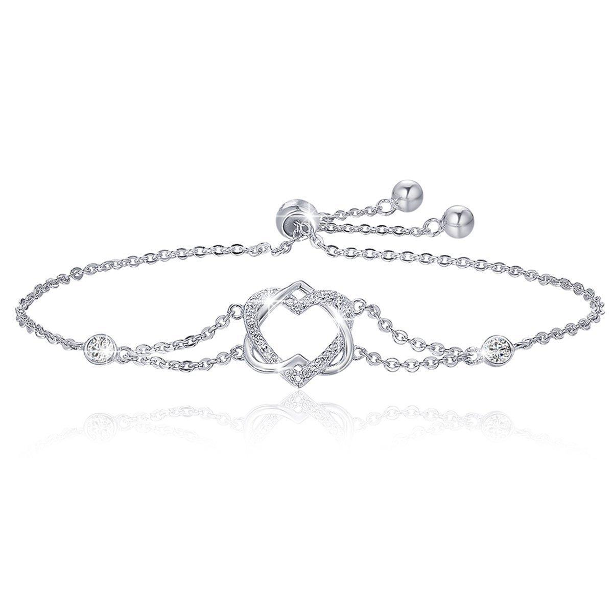 BAMOER 925 Sterling Silver Double Heart Bracelet Adjustable Chain Bracelets for Women Girls for Her