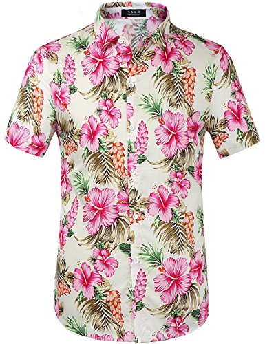 Street Hawaiian Shirt (SSLR Men's Cotton Button Down Short Sleeve Hawaiian Shirt (X-Large, White Rose))