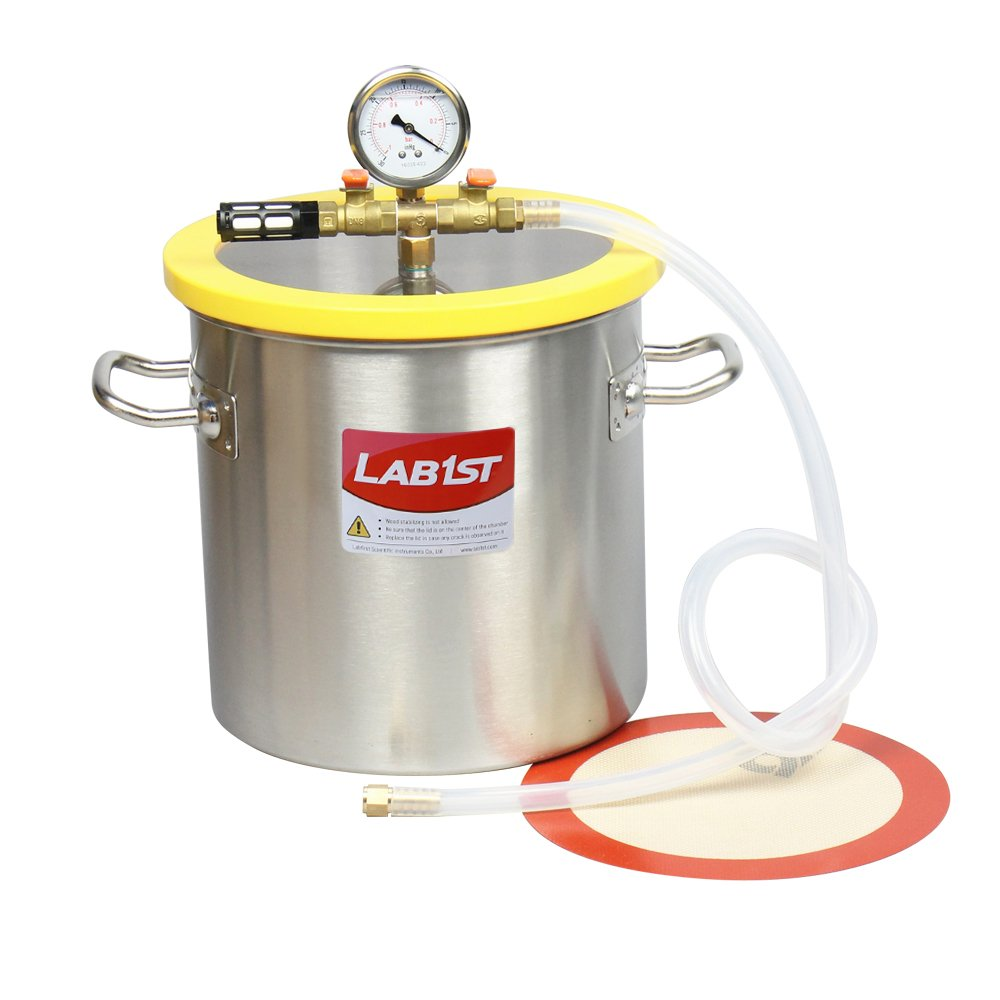 """3 Gallon 250mm 9.8"""" Stainless Steel Vacuum Degassing Chamber - Not for Wood Stabilizing"""