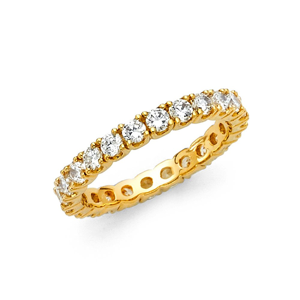 14k Solid Yellow Gold Eternity Band Stackable Ring Channel Set Endless Wedding Band 2.6 MM Size 7