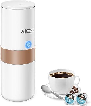 Cafetera Café Portátil Aicok, K-Cup Cafetera Automatizada, Máquina de Café Eléctrica para Viajes, Operación Sencilla con un Solo Botón, Perfecta para Conducir un Automóvil y en Cualquier Lugar: Amazon.es: Hogar