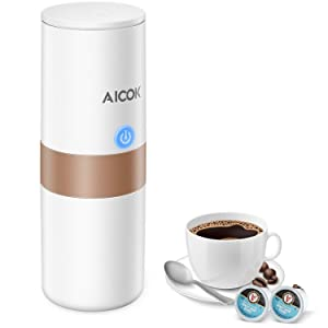 Aicok Portable Coffee Maker, Espresso Maker, Car charging, 1-Button-Operation, Heating Cool Water Brewing, Coffee Powder and K Cup Brewer, Perfect for Camping, Travel, Kitchen and Office