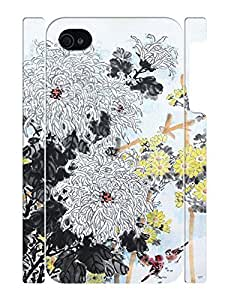 3D Print Ink Flower Pattern Personalized Rugged Phone Dust Proof Case for Iphone 4 4S