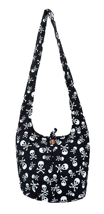 f3f933933cb7 Thai Hippie Hobo Sling Crossbody Shoulder Bag Purse Handmade Zip Black  Skull Cotton Gypsy Boho Messenger Medium M745 By Pada Craft Shop   Amazon.in  Shoes   ...
