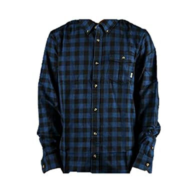 56c129f3dd Vans Men's Eckleson Flannel Shirt (Medium, Black/True Blue) at ...