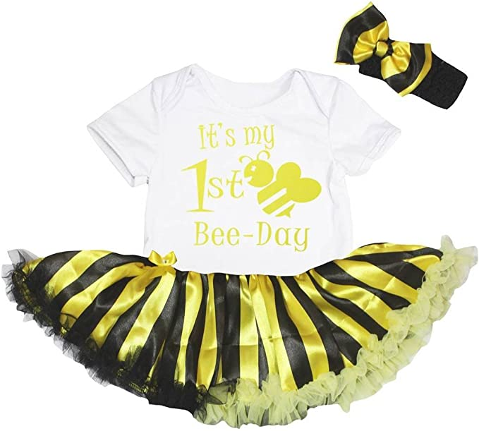 Petitebelle Its My 1st Bee Day Bodysuit Yellow Striped Tutu Baby Dress Nb-18m