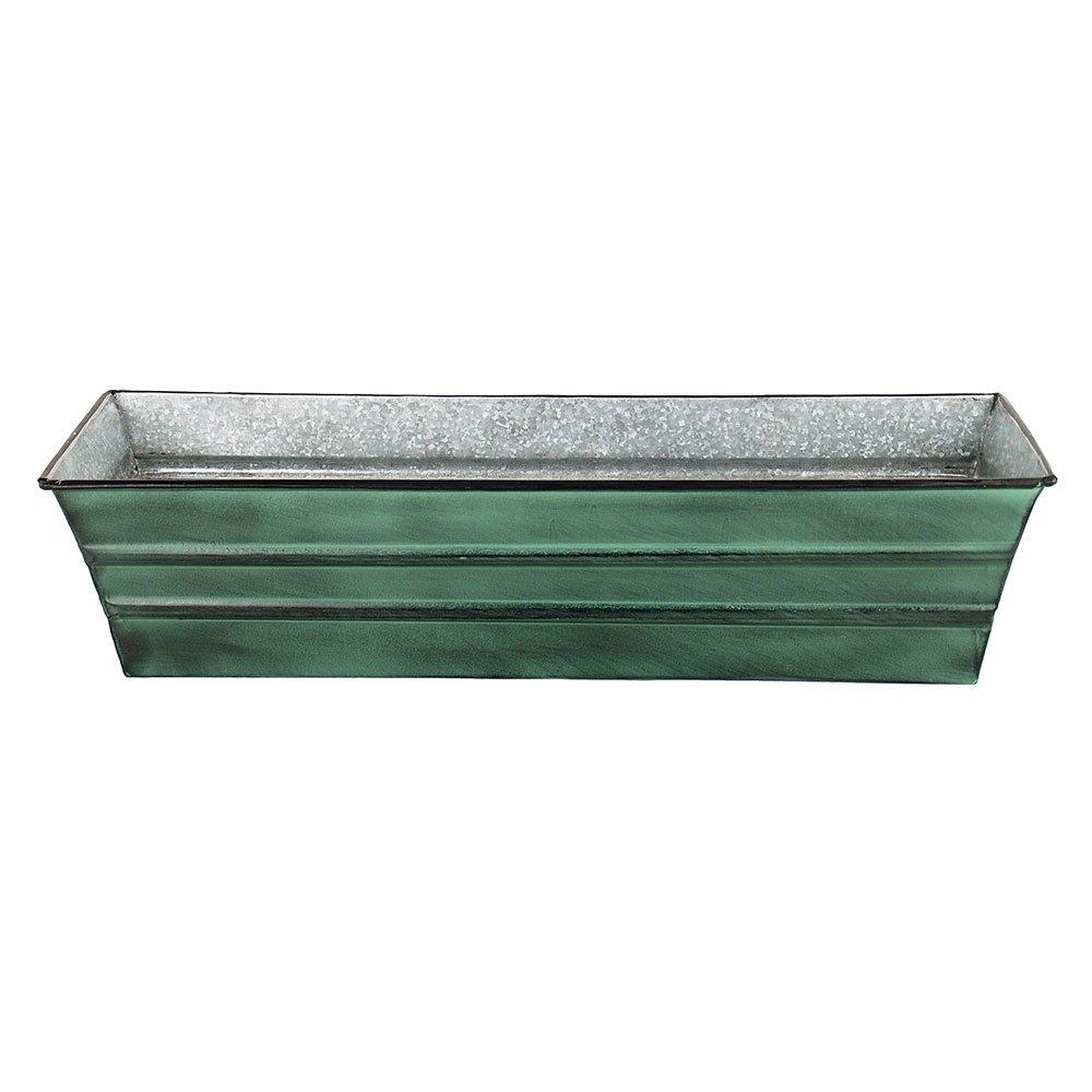 Achla Designs Galvanized Window Flower Box Planter-Green-Small (22''L x 6''W x 5''H)