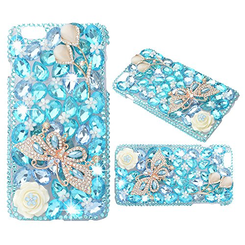 (Spritech(TM) Bling Clear Phone Case For Iphone 7 Plus 5.5inch,3D Handmade Blue Crystal Butterfly Accessary Design Cellphone Hard Cover)