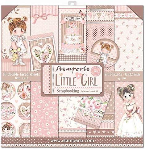 STAMPERIA SBBL67 Lot de 10 feuilles de papier double face Motif Little Girl Multicolore 30,5 x 30,5 cm