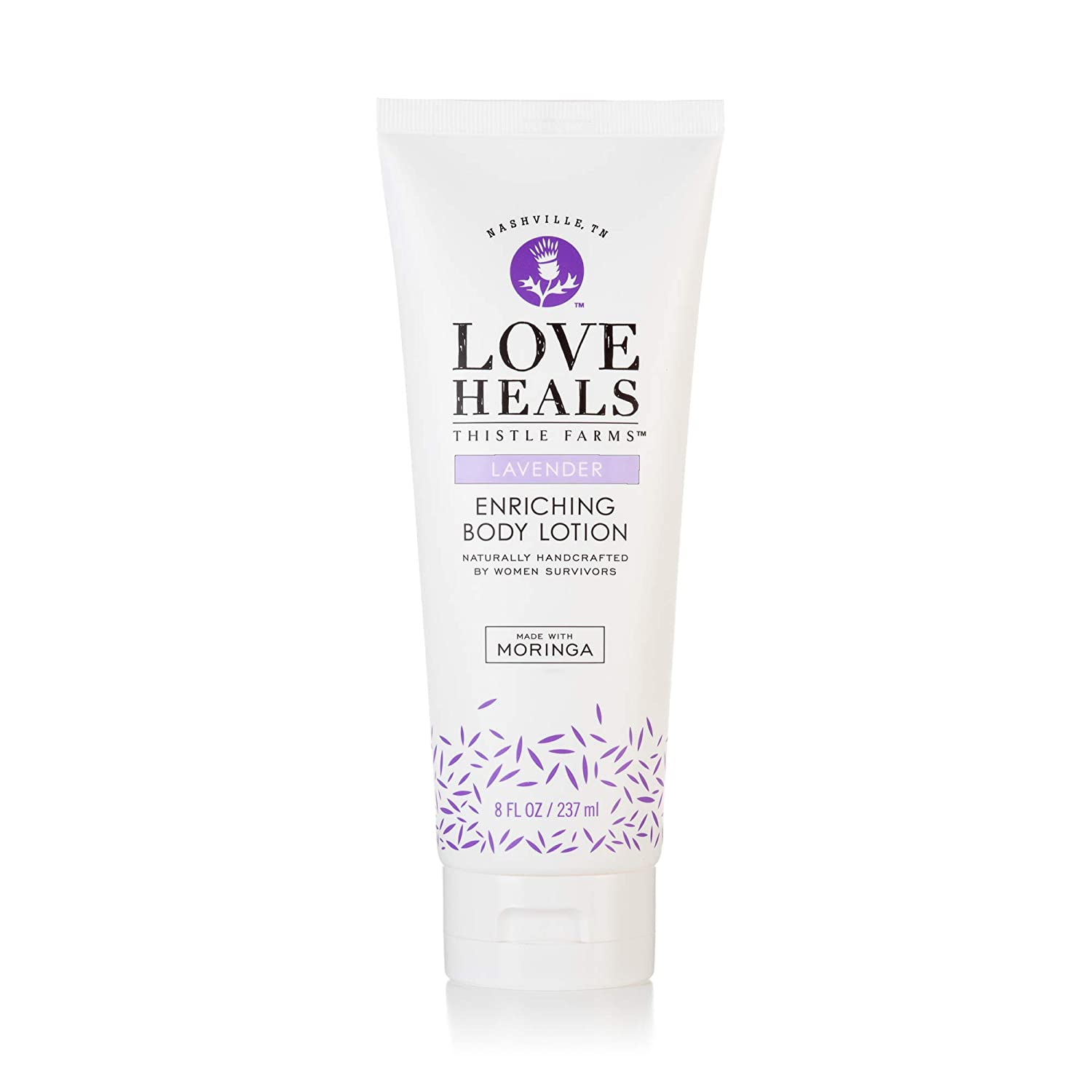 Thistle Farms | Love Heals Lavender Enriching Body Lotion with Coconut Oil, Moringa, Essential Oils | Natural & Calming Body Lotion for Sensitive Skin Created by Women Survivors | 8 oz.