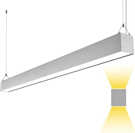 Hykolity LED Architectural Suspended Linear Channel Light Linkable 4FT 40W 3000K//4000K//5000K CCT Selectable Dimmable Office Lighting Fixture for Commercial Places 1 Pack ETL 4600lm
