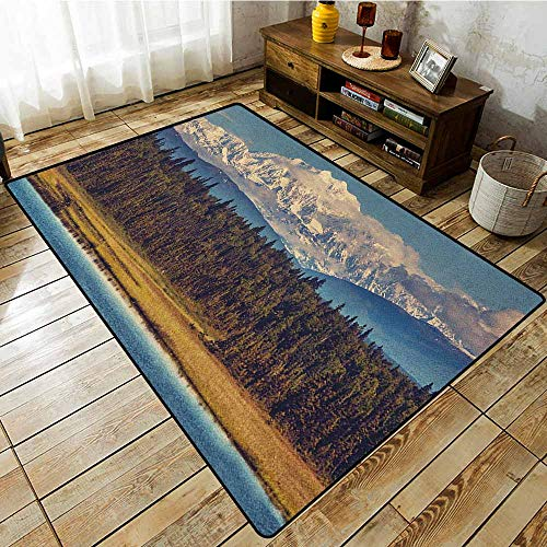 Collection Area Rug,Alaska,Colorful Summer Season in Northwest America Snow White Mountains River Fresh Forest,All Season Universal Multicolor