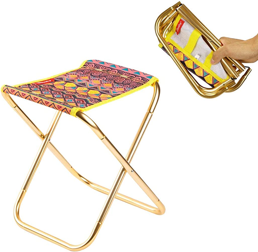 Integrity Folding Stool Portable Retractable Telescopic Stool For Fishing Hiking Traveling Outdoor Activities Max Load 350Lbs Many Colors Are Available Blue