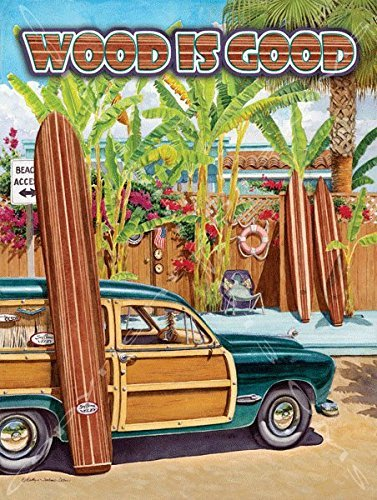 Eletina Toy Wood is Good Metal Sign Surfing and Tropical Decor Wall Accent