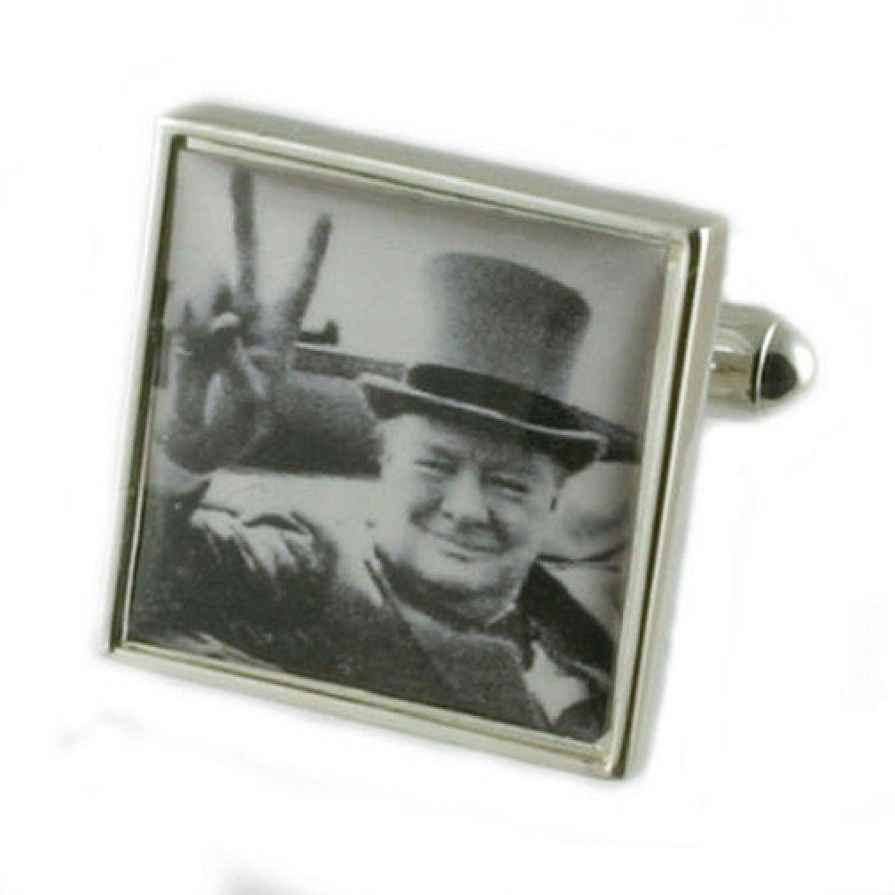 Select Gifts Cuff Links Winston Churchill Cufflinks~Victory~World War Cufflinks Hand Made Pouch