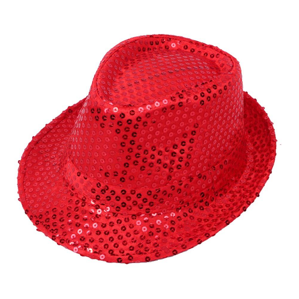 Wicemoon 1pcs Gorra de Baile de Sombrero de Lentejuelas de Sombrero de Fiesta para Padres E Hijos Rojo 58cm