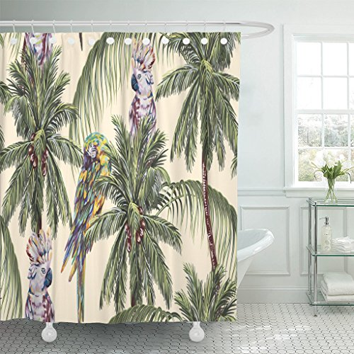 Emvency Shower Curtain Tropical Floral Pattern with Parrots Exotic Birds Palm Trees Leaves Coconut Vintage Jungle Waterproof Polyester Fabric 72 x 72 inches Set with ()