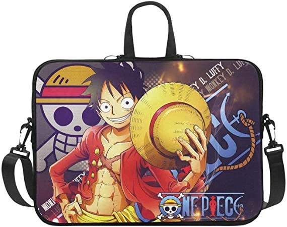 14 Inch One Piece Luffy Laptop Bag Business Briefcase for Men Women Shoulder Messenger Laptop Sleeve Case Carrying Bag