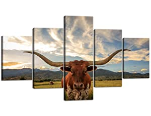 Yatsen Bridge Modern Canvas Wall Art Texas Longhorn Steer in Rural Utah Painting for Home Decor 5 Panels Animal Decorative Prints and Posters Easy to Hang, Waterproof - 70''W x 40''H