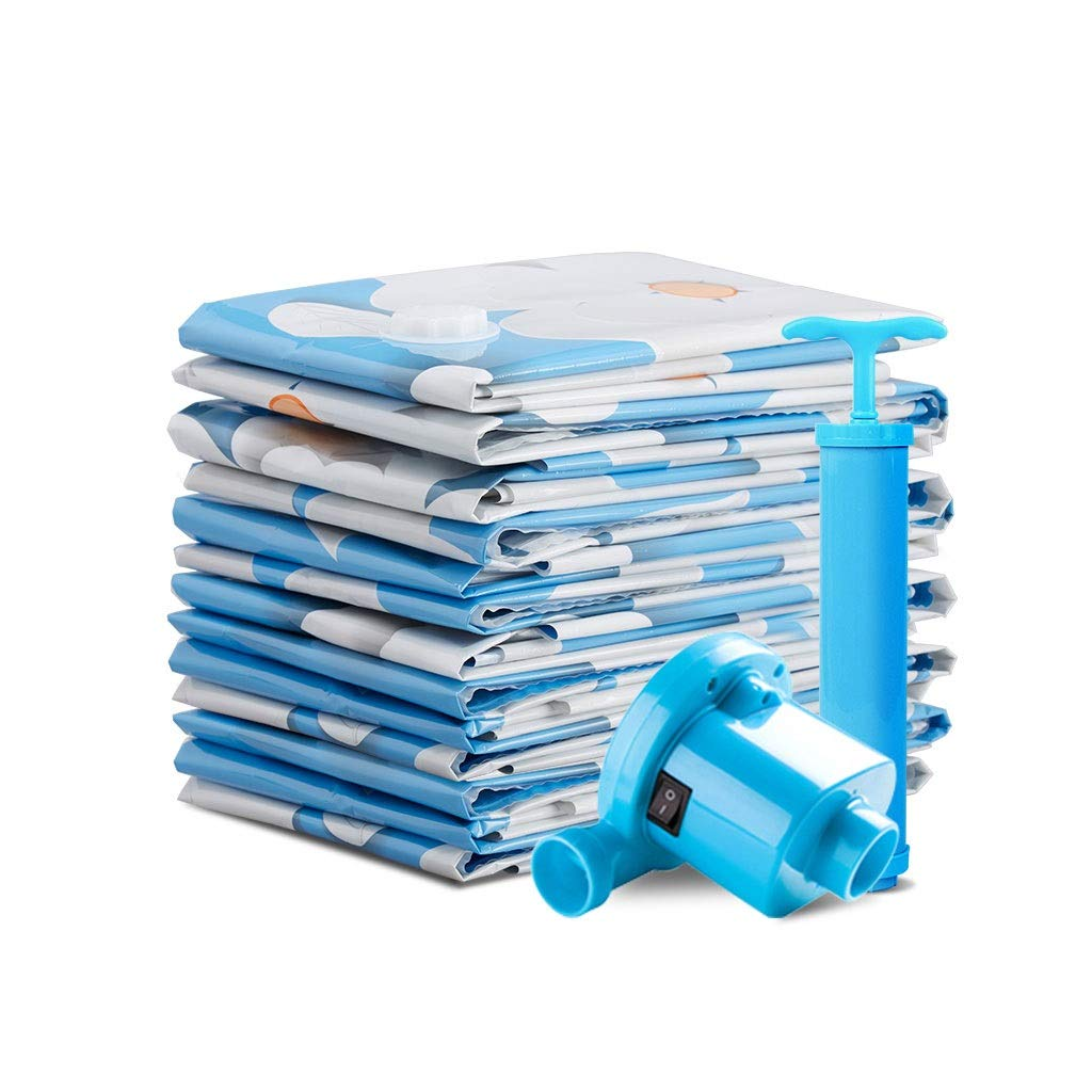 Vacuum compression bags Blue Flower Storage Bag Large Extra Large Quilt Quilt Sorting Bag Clothing Clothes Packing Bag Hand Pump Thickening Repeated Use by Vacuum compression bags