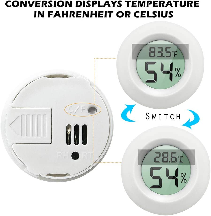 Electronic Thermometer for Kitchen TIAMAT Indoor Temperature Humidity Meter Detector Indoor Garden Cellar 2 PACK Fridge Digital Instant Read Thermometer Hygrometer Closet White