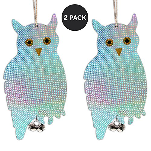 Reflective Owl Bird Deterrent To Scare Birds Away – Hanging Scare Tape Repellent w/ Bells - Scare Squirrels & Birds Away From Your Garden, Windows & Yard (2pk)