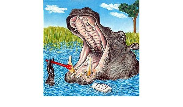 Hippo Hippopotamus Brushing Teeth dentist decor animal art tile coaster gift