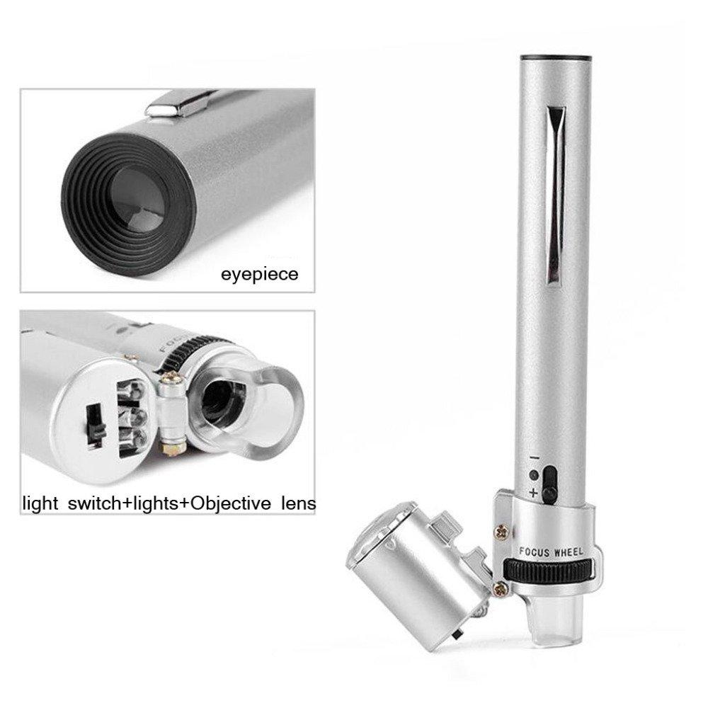 ANHPI Lupa De Pluma Ajustable para con Identificación De Microscopio Mantenimiento De Microscopio De De Billetes De Banco con Lupa LED (100X),Plata-123mm 139cb7