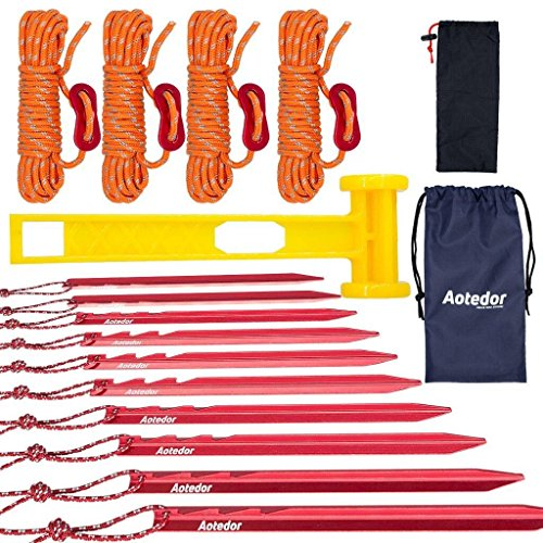 Aotedor Heavy Duty Tent Stakes and Guy Lines Mallet Kit, 10 Lightweight Aluminum Tent Pegs, 4 Reflective Guide Rope with Cord Adjuster, Plastic Mallet for Backpacking Camping