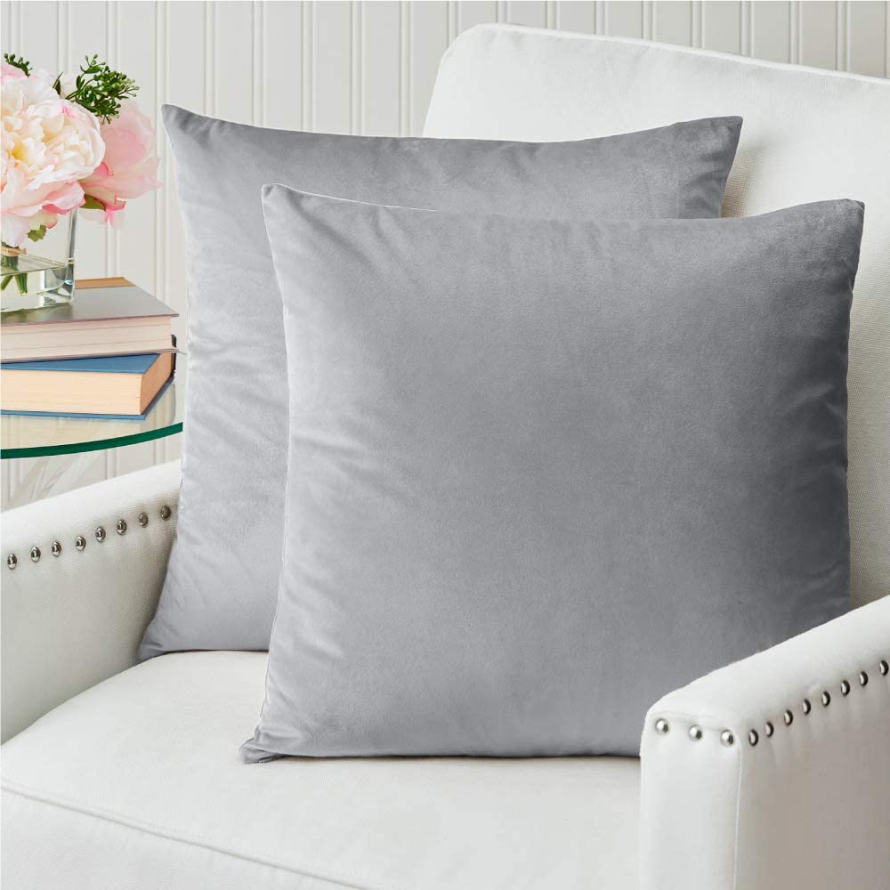The Connecticut Home Company Velvet Throw Pillow Cases Set of 2, Decorative Case Sets, Many Colors, Square Pillow Covers, Soft Pillowcases for Living Room, Bedroom, Couch, Sofa, Bed, 18x18, Light Gray